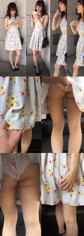 バレた?!清楚ギャルのスカートめくり→白のスケスケパンツ